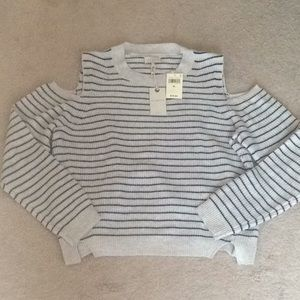 🆕LUCKY BRAND shoulder cutout gray striped sweater